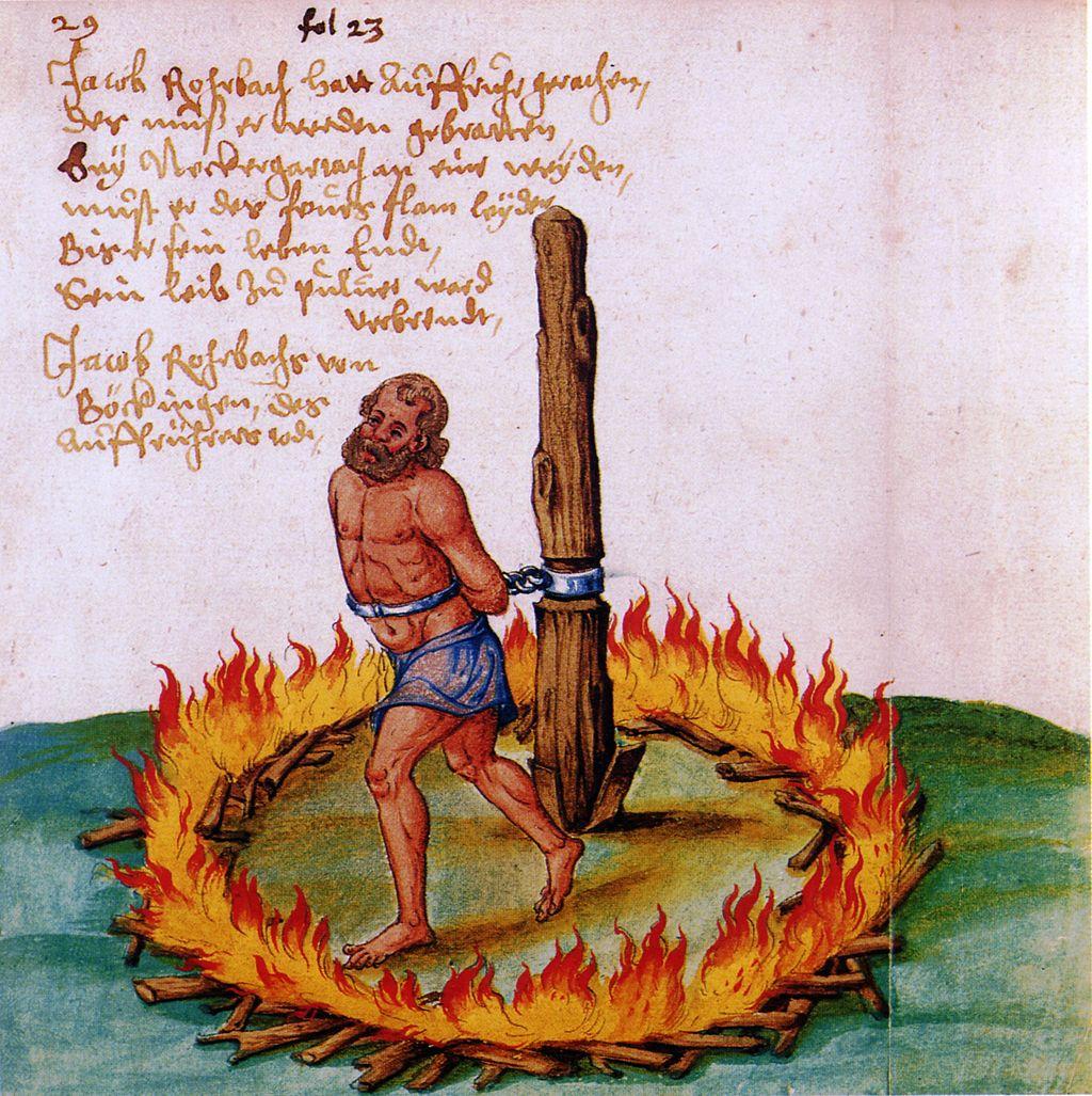 Supplice d'un meneur de la guerre des paysans qui fit 100.000 morts en 1526