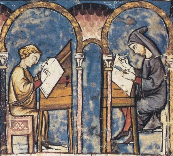 Moines travaillant au scriptorium, miniature extraite du Livre des Jeux, XIIIè siècle
